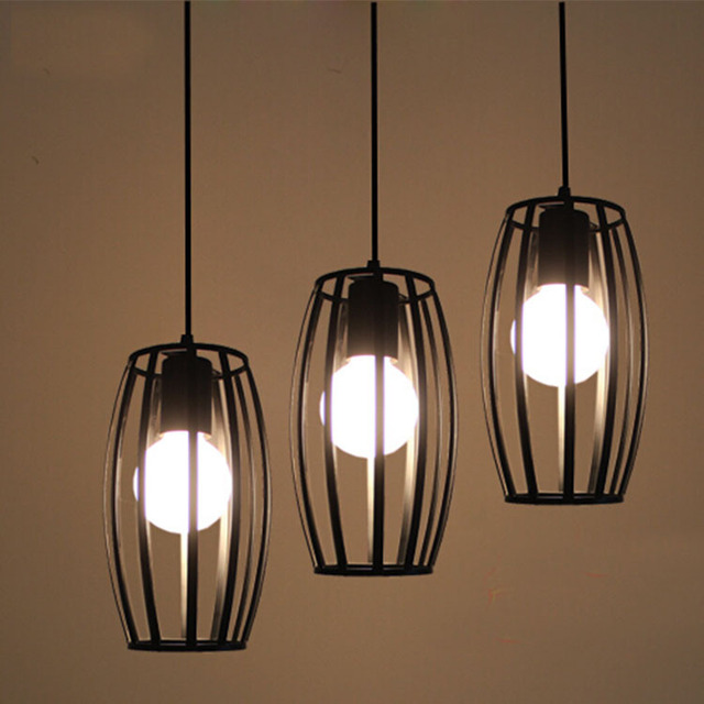 Modern Kitchen Lamps Rope Lamp Iron Cage Pendant Light With E27 Lamp Holder  Coffe Bar Living