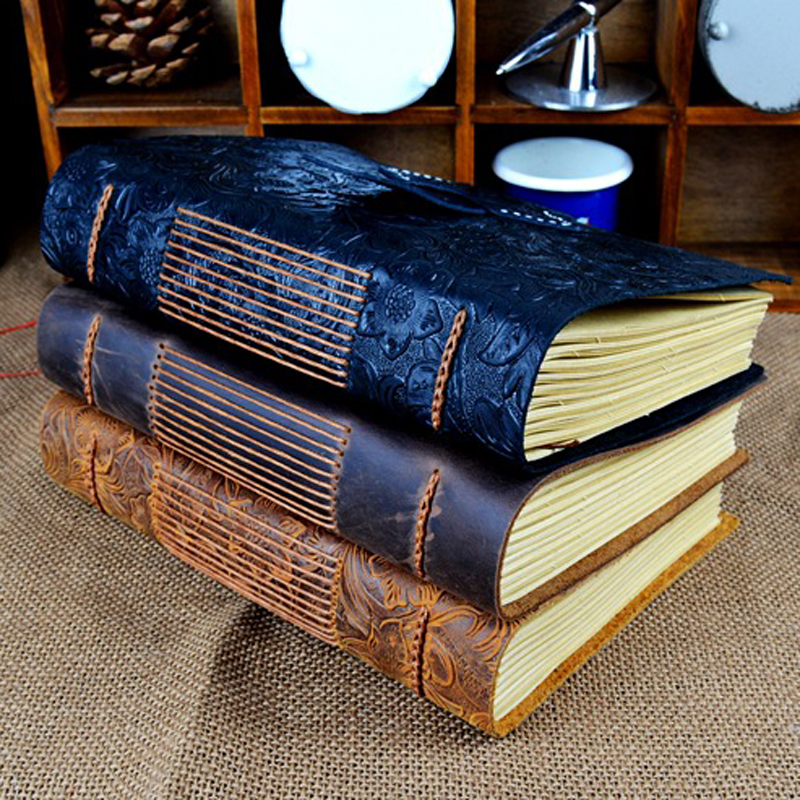 Retro Handmade Leather Diary Notebook Sketchbook Travel Journal Vintage Blank Writing Paper Note Books Gifts Office Stationery