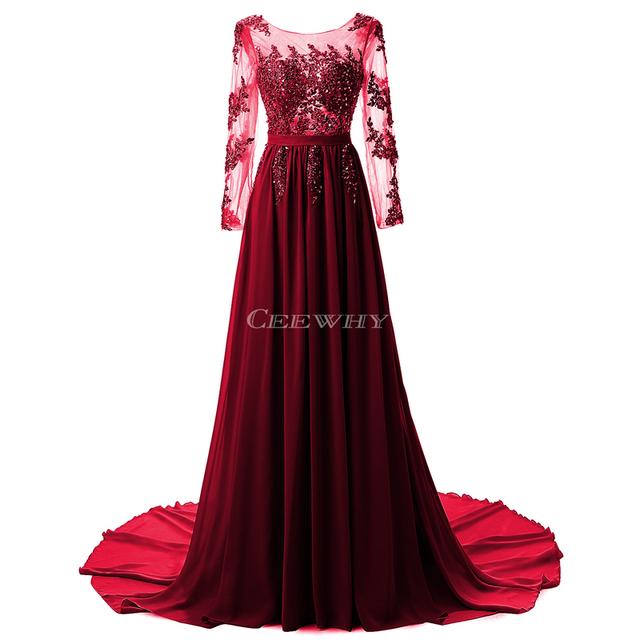 Full Sleeve Floor Length Sexy Backless Evening Dress Long Bride Banquet Elegant Pleated Court Train Prom Dress Robe de Soiree