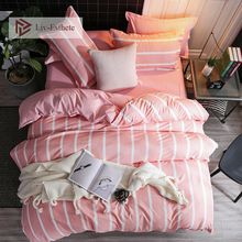 Liv-Esthete Simple Pink Striped Bedding Set Single Double Queen King Bed Linen Soft Duvet Cover Flat Sheet Pillowcase For Adult