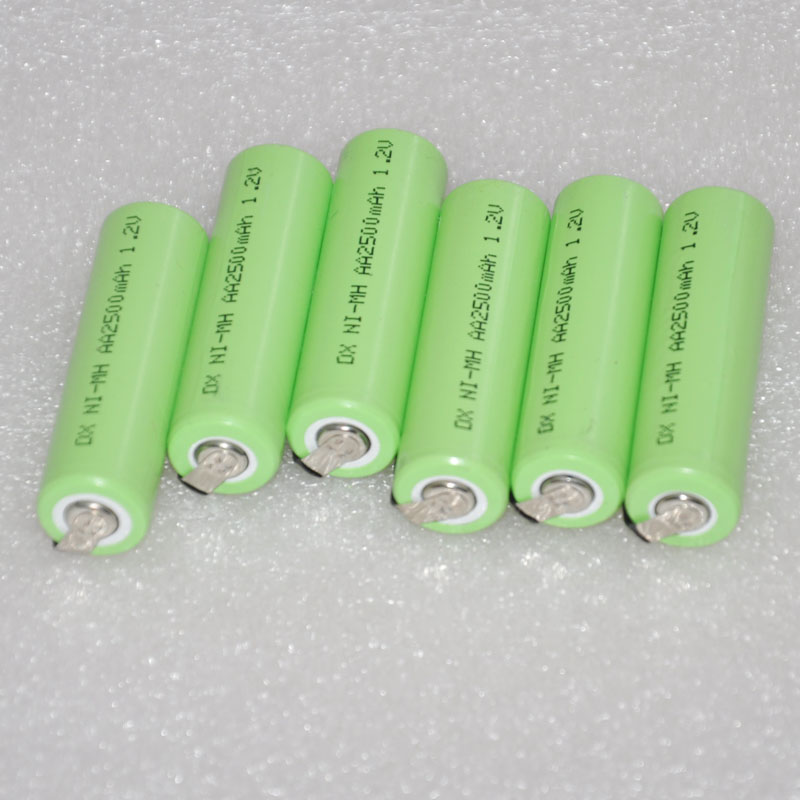 6PCS 1.2V AA rechargeable battery 2500mah 2A 14500 ni-mh nimh cell with pins for Philips Braun electric shaver razor toothbrush image