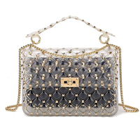 2019 New Fashion Rivet Transparent Beach Designer Bags Tote Bags for Women Diamond Lattice Crossbody Bag Jelly Clear Purse