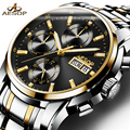 Luxury watch men Stainless steel Automatic mechanical Sapphire waterproof multifunction watch relogio masculino