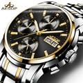 Relojes de lujo hombres de acero Inoxidable mecánico Automático de Zafiro multifunción impermeable reloj relogio masculino