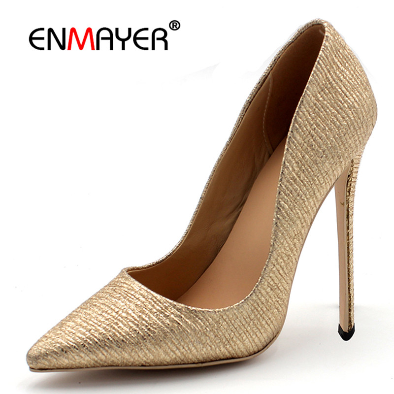 ENMAYER Custom-made Heels 7 8 10 11 12cm Shallow Pumps Shoes Woman High Heels Pointed Toe Plus Size 34-43 Golden Shoes Party enmayer pointed toe sexy black lace party wedding shoes woman high heels shallow pumps plus size 35 46 thin heels slip on pumps