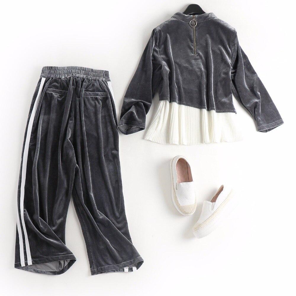 a950ecc8faad52 € 66.74 |Printemps automne femme outfit blanc plissé bas top bande motif  côté veau longueur pantalon gris velours tenue casual tailleur pantalon ...