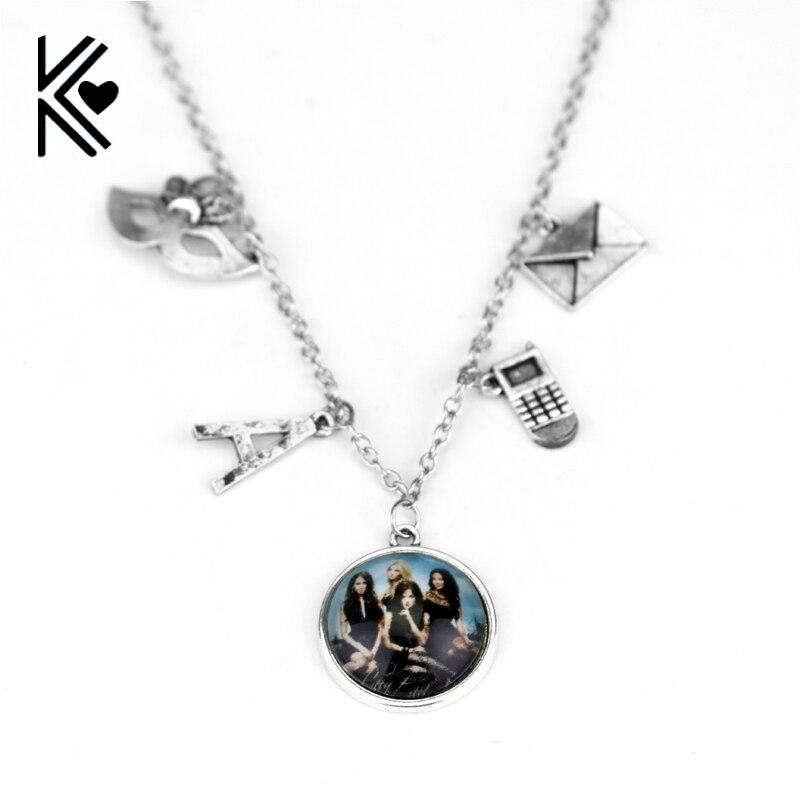 Милые Обманщицы Цепочки и ожерелья есть секрет вы можете держать его  логотип кулон Для женщин изделия Может падение доставка e1bfdd1f7c5