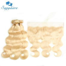 Sapphire Human Hair 613 Bundle Brazilian Body Wave med 13 * 4 Frontal 2/3 Bundle Blond Hår Med Lace Frontal Remy Hair Extension