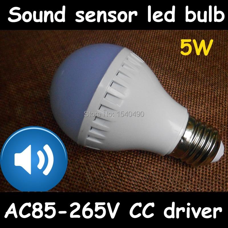 sound sensor led light bulb lamparas E27 5W Bombilla 2835SMD Warm White pure white cool white 110V/220V/230V/240V AC85-265V e27 6w 600lm 3500k 36 smd 2835 led warm white light round bulb white silvery grey ac 85 265v
