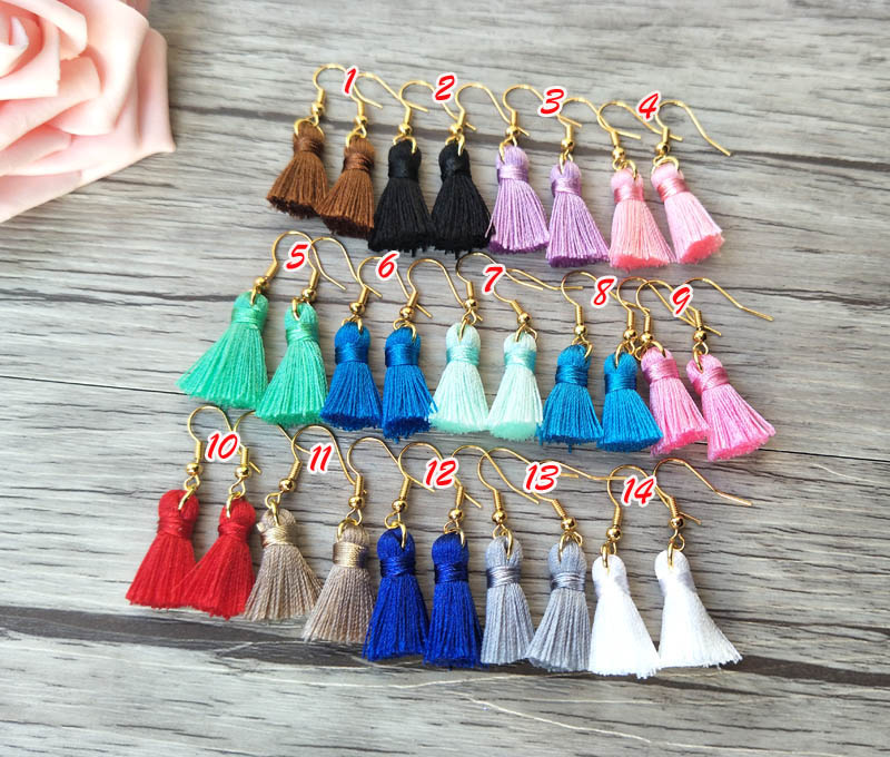 20 Pairs cotton Silk Tassel Earrings,mini Tassel Jewelry For Women Bohemia Earrings ER374