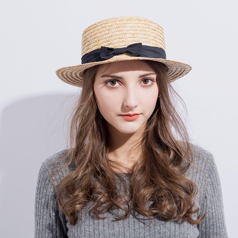 0bffd224 2018 Summer Women Boater Beach Hat Female Casual Panama Hat Lady Brand  Classic Bowknot Straw Flat Sun Hat Women Fedora-in Sun Hats from Women's  Clothing ...