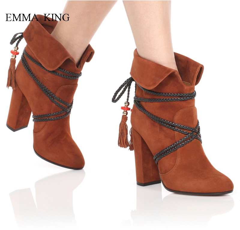 Womens Boos Ravers Suede Cross-tied Tassel Autumn Winter Ankle Boots Chunky High Heels Botas Mujer Mixed Colors Ladies ShoesWomens Boos Ravers Suede Cross-tied Tassel Autumn Winter Ankle Boots Chunky High Heels Botas Mujer Mixed Colors Ladies Shoes