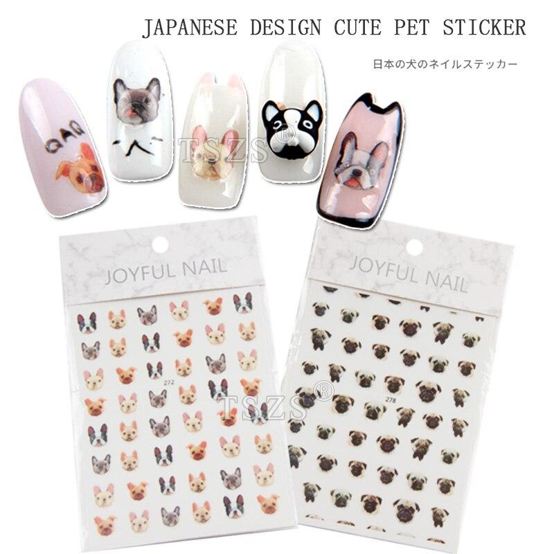1 Beutel/los Japanischen Design Hund Pet Gesicht Niedlichen Mops Welpen Nail Art Toe Nägel Aufkleber Transfer Aufkleber Tattoo Der Preis Bleibt Stabil
