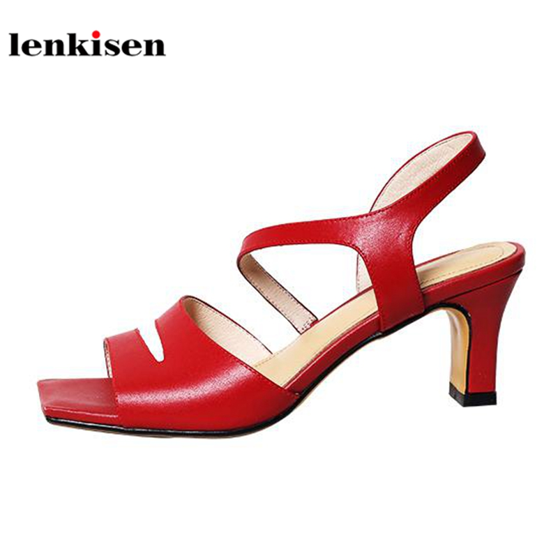 Lenkisen 2018 genuine leather new fashion women sandals high heels special simple style peep toe buckle straps summer shoes L70