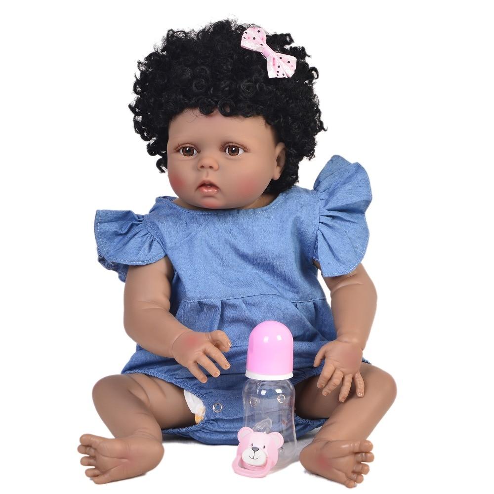 22/'/' Black Biracial Reborn Baby Doll Girl African American Realistic Xmas Gift