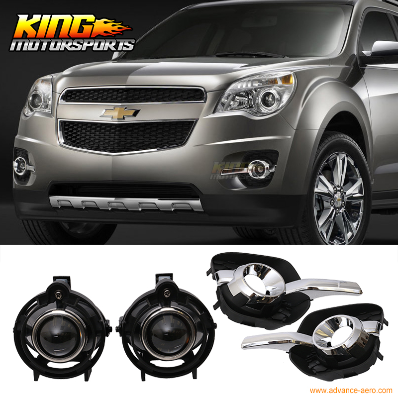 For 15-16 Chevy Equinox Front Projector Fog Lamp Light Pair Kit LH RH Clear Lens fit for 15 17 gmc yukon denali front fog light lamp chrome bezel lh rh h3 12v 20w clear lens