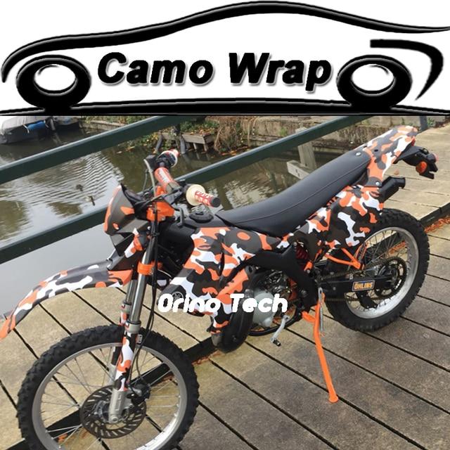 Orange Black Spot Camouflage Vinyl Wrap Sticker Bike Motorcycle