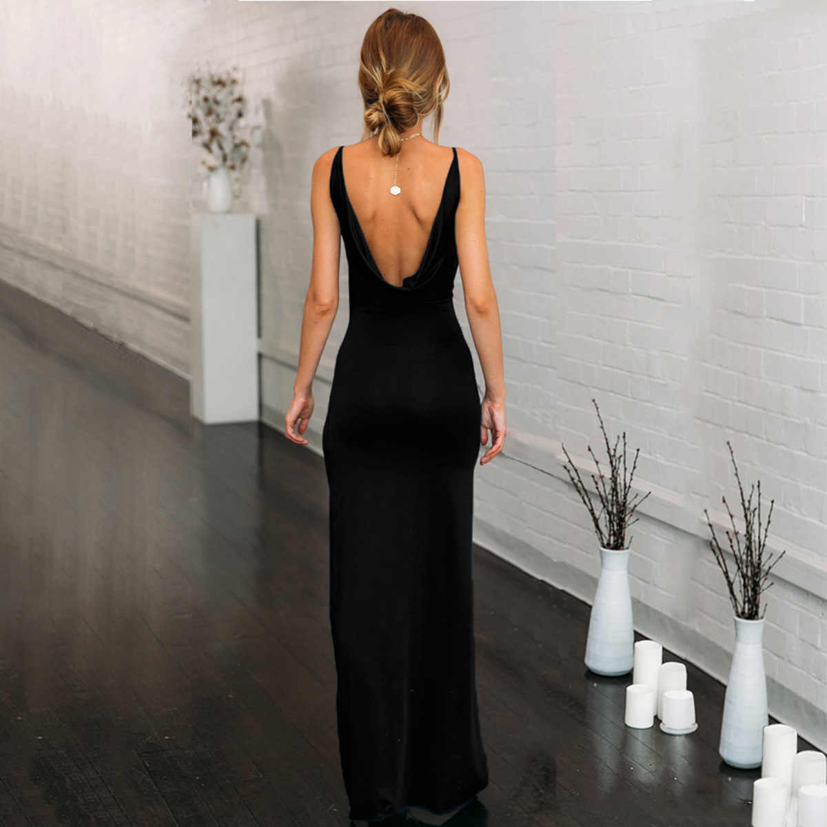5974721496b7 ... Bangniweigou Sexy V Front Back Maxi Dress For Women Prom Party Side  Split Leg Open Slip ...