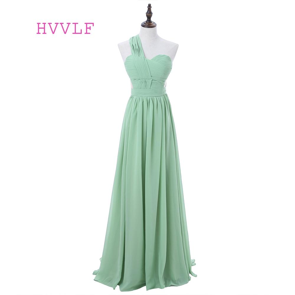 Mint Green Celebrity Dresses A-line One-shoulder Chiffon Backless Women Long Evening Dresses Red Carpet Dresses
