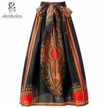 africane black dashiki skirt traditional clothing print high waist long skirt plus Size S-4XL gbwd black 4xl