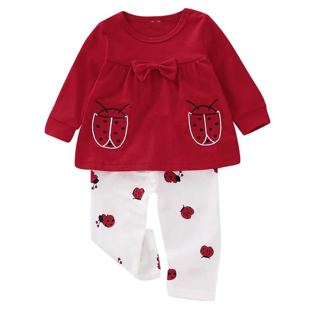 Новинка 2018 года, осенняя одежда для маленьких девочек, футболка с длинными рукавами с божьей коровкой + штаны, 2 предмета, детские костюмы, комплект зимней одежды для маленьких девочек