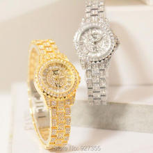 цена на 2017 New Fashion Women Watch Lady Diamond Crystal Dress Watch Silver Steel Luxury Wristwatch Hot Sale Female Quartz Watch clocks