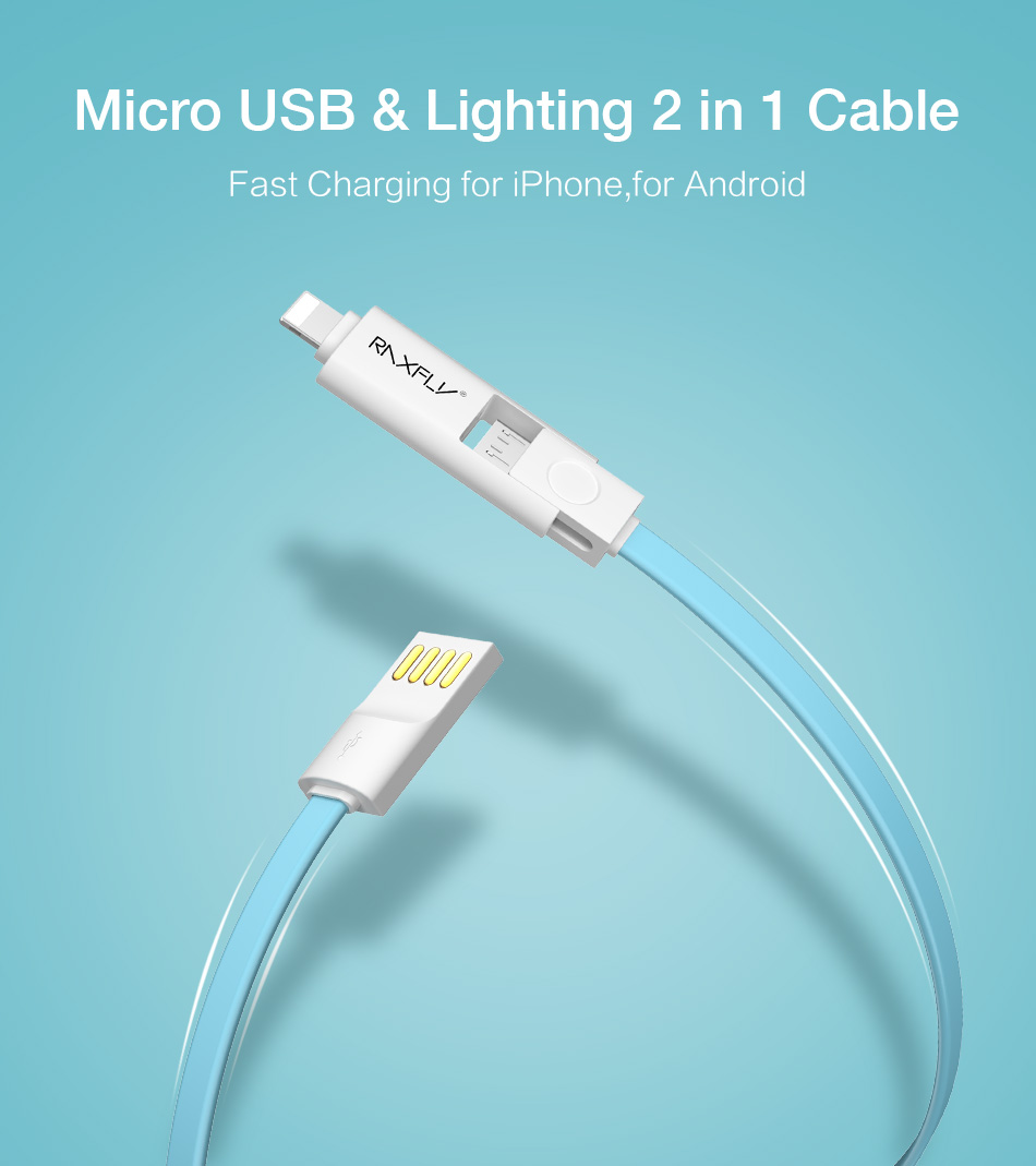 RAXFLY Micro USB Cable For Samsung Xiaomi 2 in 1 Lighting Lightning ...