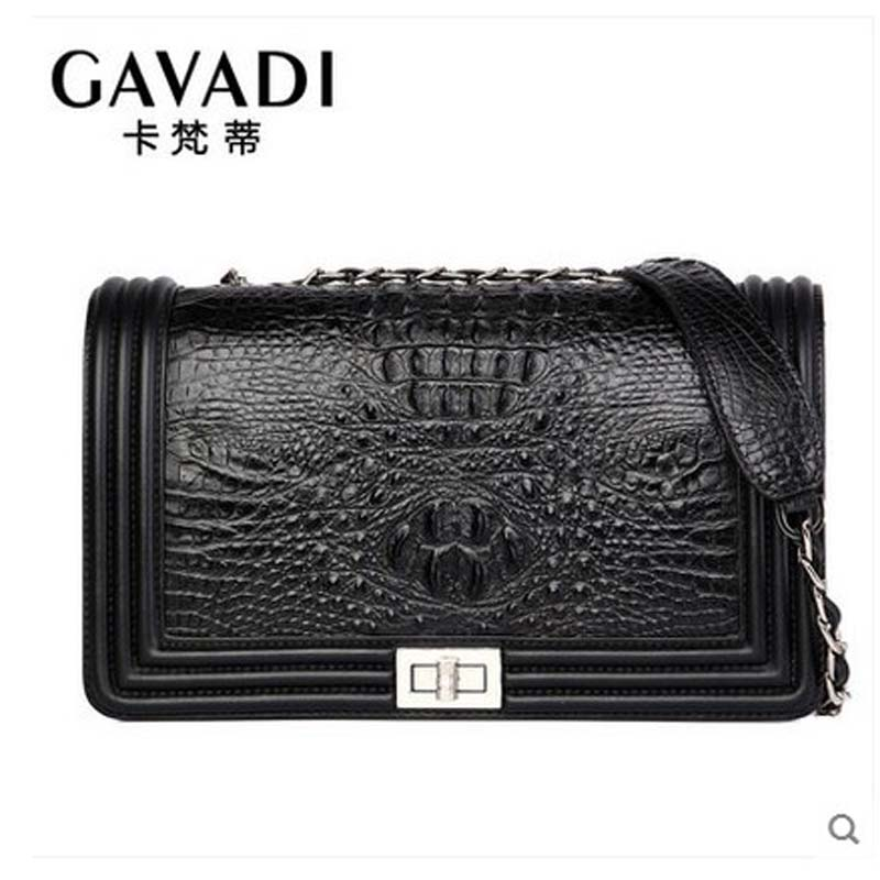 kafandi crocodile leather women bag business fashion chain bag single shoulder women bag cross - cover  ladies small flap yuanyuqiiandian thai crocodile female bag imported crocodile leather single shoulder bag ladies fashion women long chain bag