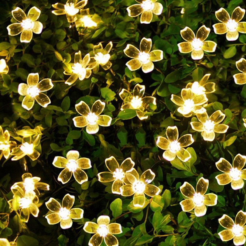 Cherry Blossom Flower Garland USB LED String Fairy Lights Crystal Flowers Indoor Wedding Christmas Decor Light Chain String 220V