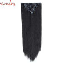 2set 7pcs/set Xi.rocks Synthetic Clip in Hair Extension 55cm Straight Hairpiece Hair Clips 130g Hairpins Naturl Black 2