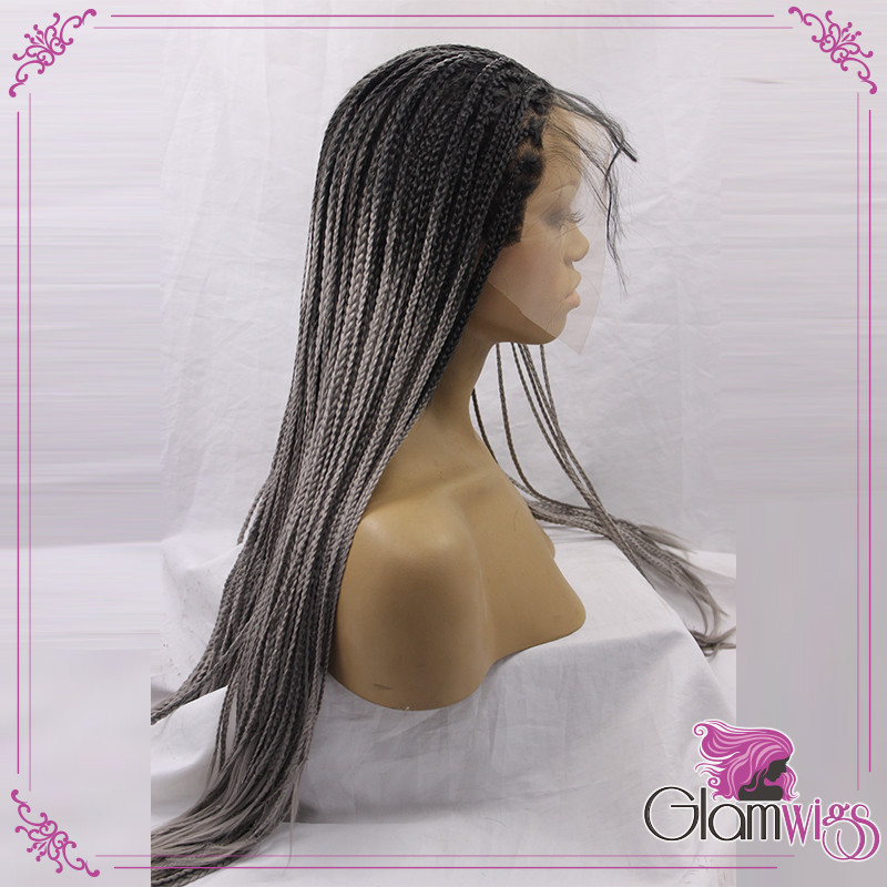 Ombre Grey Braided Synthetic Lace Front Wigs Kinky Twist Braiding Wigs Ombre Black To Grey Twist Braid Synthetic Wigs4