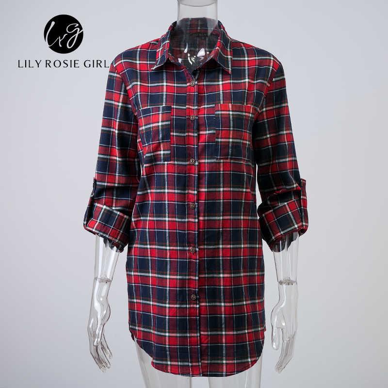 סתיו מזדמן אדום משובץ כפול כיסים ארוך נשים חולצה Loose כפתור משרד בנות חולצות חולצות Femme Blusa חורף הלבשה עליונה