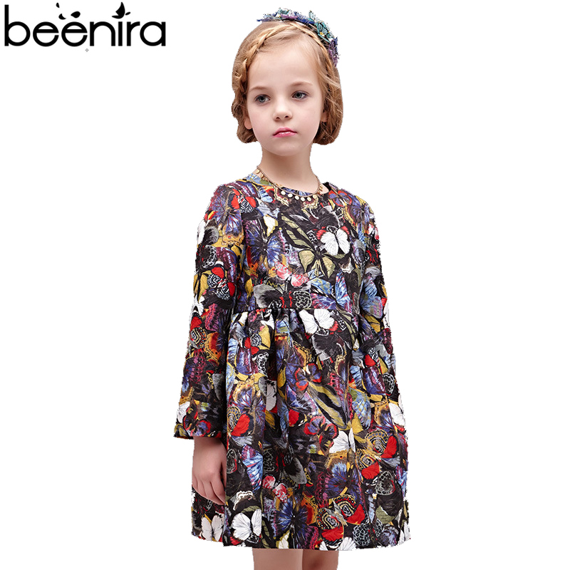 BEENIRA 2017 Spring Girls Dress Child Cotton Print Vestido for Party Antumn Clothing Europe Style 4Y-14Y вечернее платье mermaid dress vestido noiva 2015 w006 elie saab evening dress