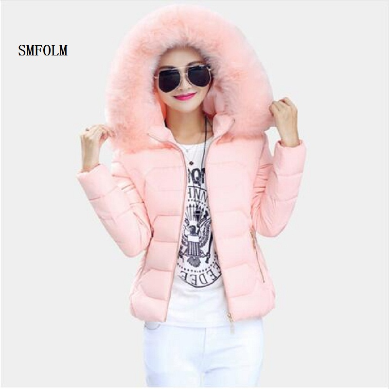 ФОТО SMFOLM  Fashion Female Winter Jacket Women plus size Thickened Warm  With Hoods Big Fur Collar Short Parka Outerwear