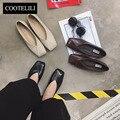 COOTELILI 35-39 Mulheres Casuais Sapatos Baixos de Couro PU Primavera Slip-On Sólidos de Borracha Confortável Moda de Ponta Do Dedo mulheres Sapatos Flats