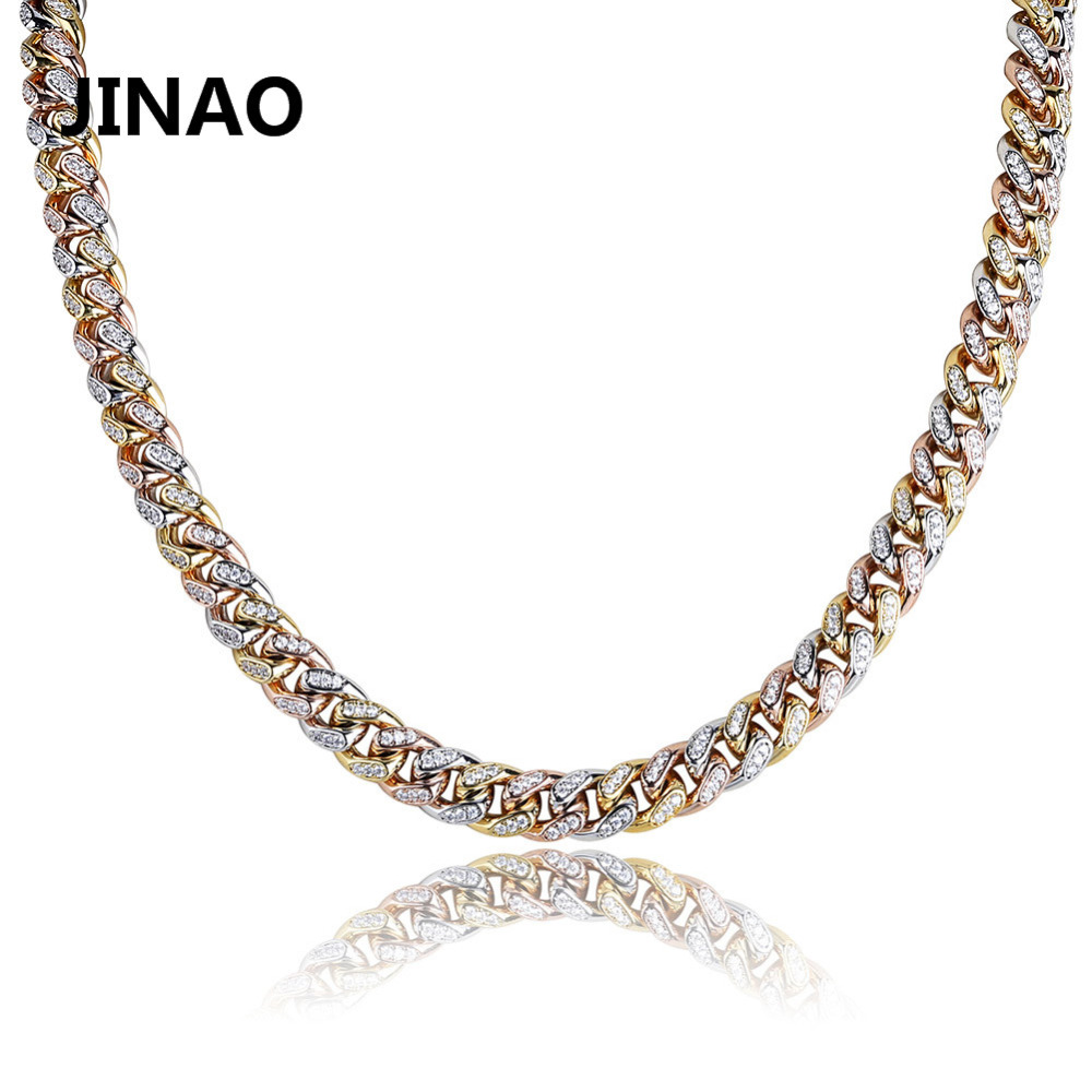 JINAO Miami Cuban Chain Necklace Charm For Men Tricolor Micro Pave Cubic Zircon Hip Hop Fashion Trendy Jewelry Gifts Iced Out new zircon bracelets men jewelry cubic micro pave cz crown charm