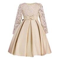 Highend Elegant Girls Dresses Long Sleeve Bud Silk Bowknot Clothes Wedding Party Dress For Girl Children