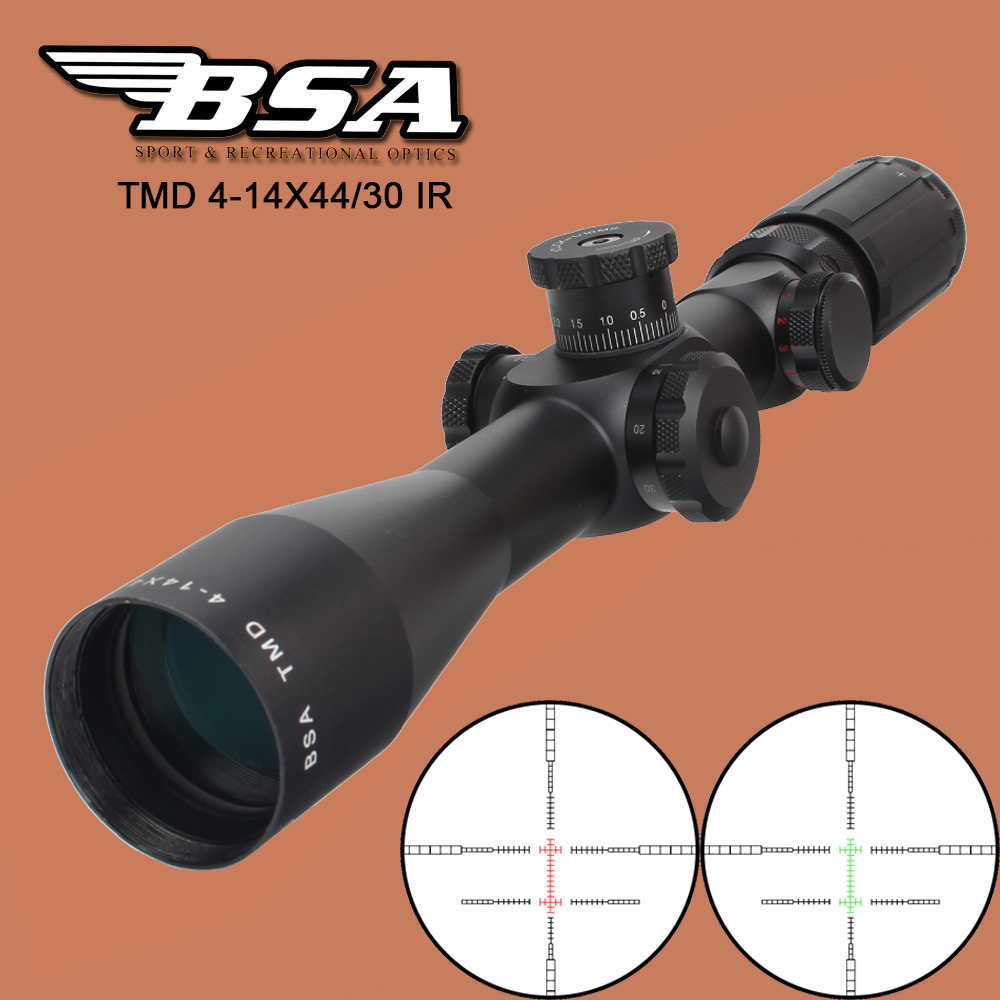 BSA TMD 4-14X44IR FFP Hunting Shooting Riflescope First Focal Plane Glass Etched Reticle RG Illuminated Tactical Optics Sight