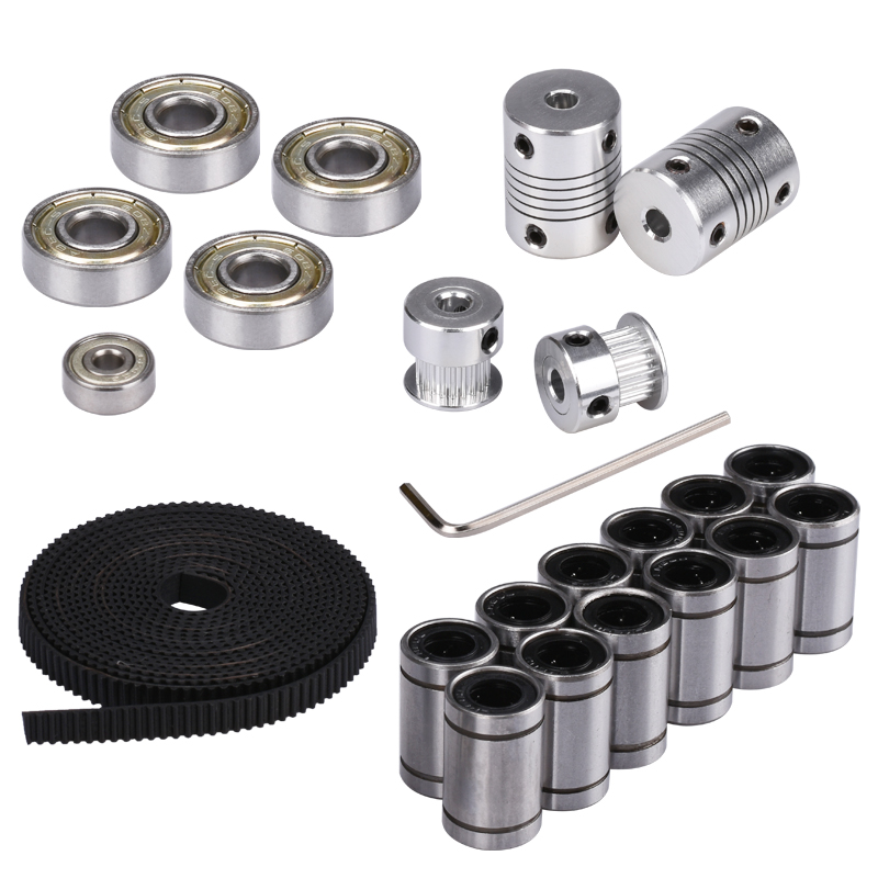 3D Printer Parts Reprap i3 Movement Kit GT2 Belt Timing Pulley 608ZZ Bearing LM8UU 624ZZ Bearing Coupler Shaft 5*5 or 5*8