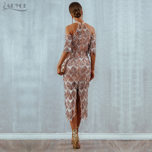 Image 5 - Adyce Elegant Sequined Evening Party Dress Vestidos 2020 New Mesh Runway Club Dress Sexy Night Club Tassels Woman Fringe Dresses