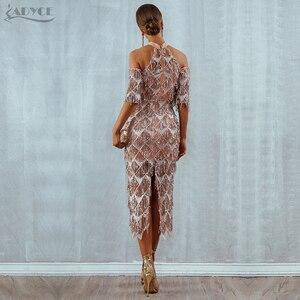 Image 5 - Adyce Elegante Pailletten Abend Party Kleid Vestidos 2020 Neue Mesh Runway Club Kleid Sexy Nacht Club Quasten Frau Fringe Kleider