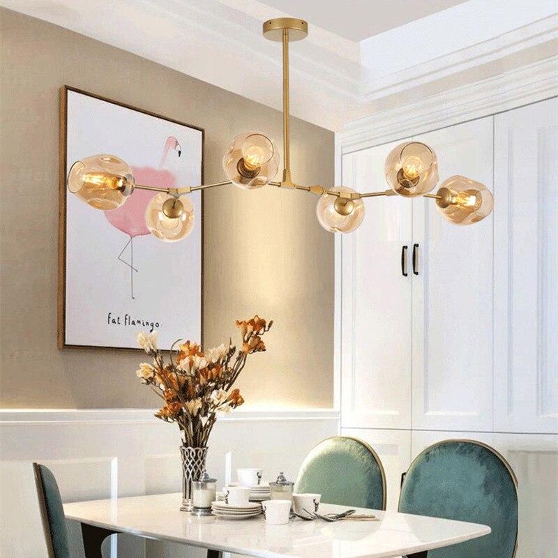 Large Chandelier Lighting Gold Flush Mount Ceiling Light Kitchen Island Modern LED Lights Bar Amber Glass Shade Lamp Free Bulbs