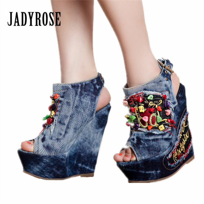 Jady Rose Summer Wedge Shoes Woman Stone Decor 12CM High Heels Women Platform Pumps Female Peep Toe Denim Sandals Wedges phyanic 2017 gladiator sandals gold silver shoes woman summer platform wedges glitters creepers casual women shoes phy3323