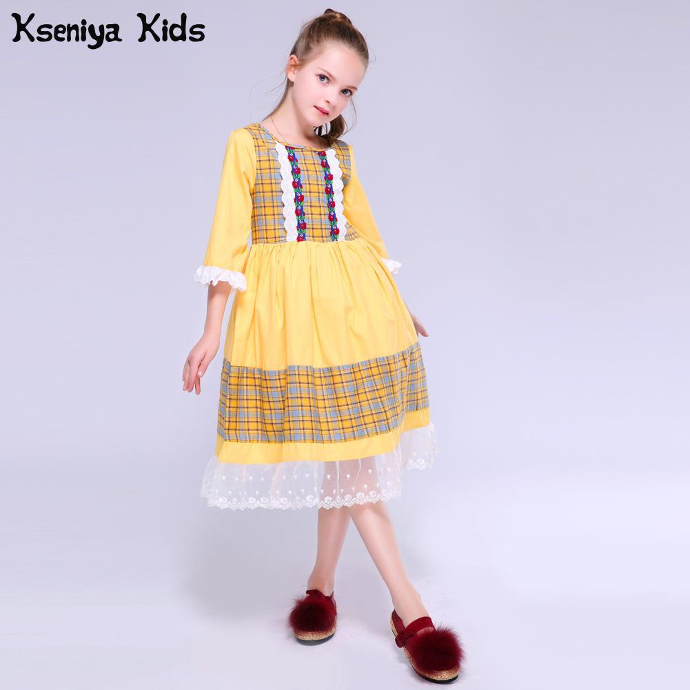 Kseniya Kids Spring Summer Baby Girls Fashion Show Clothing Victorian Lace Princess Cute Dress Girl Flower Party Cute Costumes