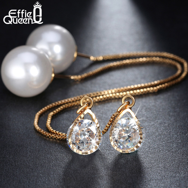 Buy Gold Plated High Quality Imitation Pearl Earrings Lovely Fashion Long Drop