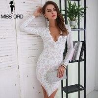Missord 2017 Sexy V Neck Long Sleeve Geometric Slim Sequin Woman Elegant Dress FT8567