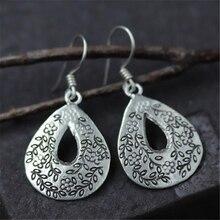 JINSE Bohemian Gypsy Ethnic Fashion Retro 925 Sterling Silver Drop Earring Carved Waterdrop Shape Earrings for Women Ear Jewelry pair of gorgeous gemstone embellished waterdrop shape earrings for women