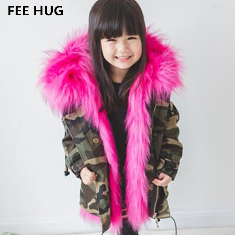 Winter Girls Faux Fur Jackets Children Thicken Warm Coats Faux Fur Liner Detchable Camouflage Jackets Kids Boys Parkas Outwear fashion girls fur coats 2017 new baby girls pu leather faux fox fur motorcycle jackets winter warm kids outerwear coats