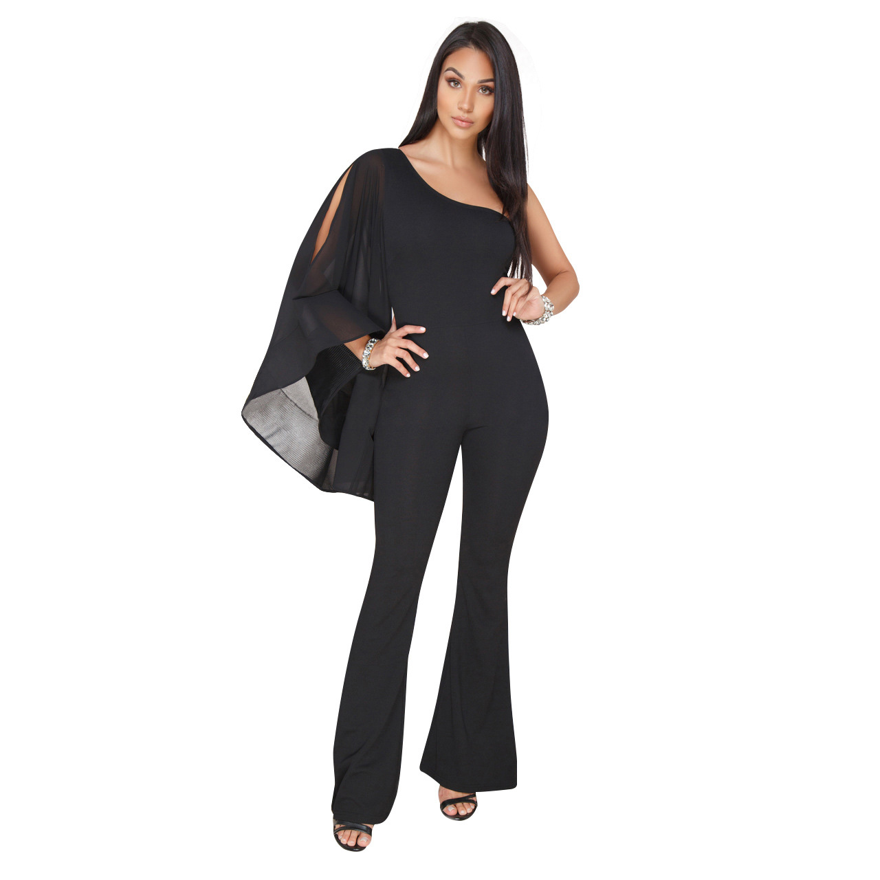 Summer One Shoulder Asymmetrical High Waist Jumpsuit Backless Elegant Boot Cut Jumpsuits Women Black Chiffon Party Rompers