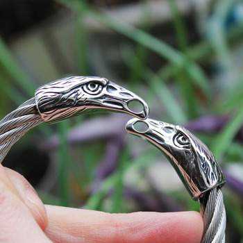 Viking Punk 316L Stainless Steel Crow Head Bracelet  Viking Bracelet